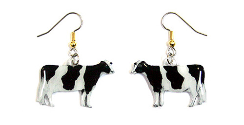 Holstein Cow Earrings Hand Painted Acrylic