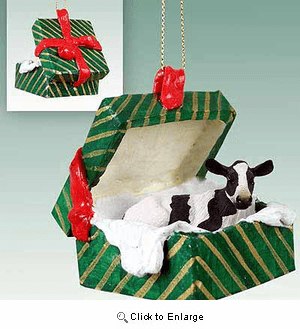 Holstein Cow Gift Box Christmas Ornament
