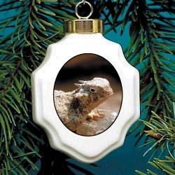 Horned Toad Christmas Ornament Porcelain