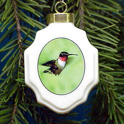 Hummingbird Christmas Ornament Porcelain