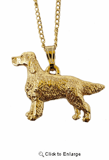 Irish Setter 24K Gold Plated Pendant with Necklace