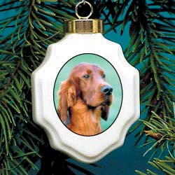 Irish Setter Christmas Ornament Porcelain