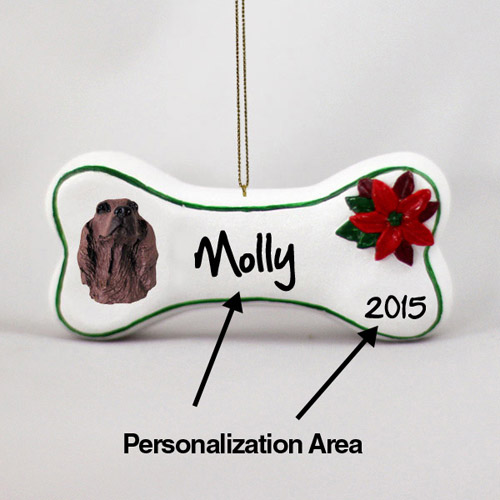 Irish Setter Personalized Dog Bone Christmas Ornament