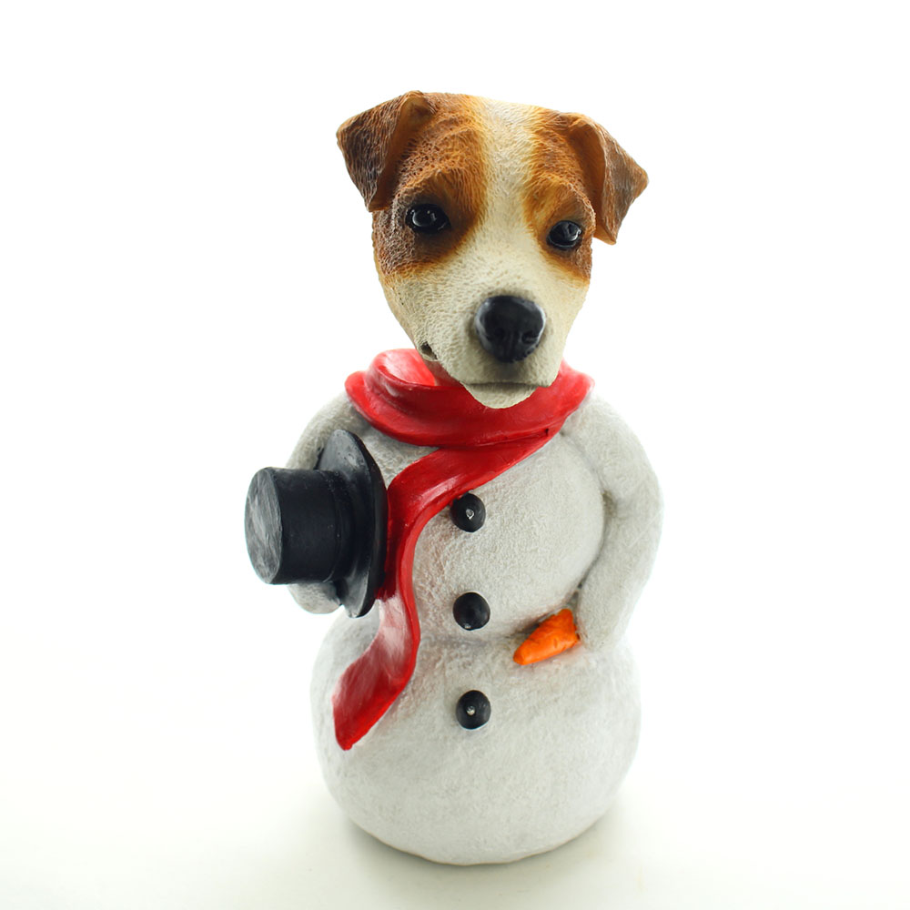 Jack Russell Terrier Br-W Smooth Snowman Christmas Decoration