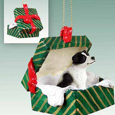 Jack Russell Terrier Gift Box Christmas Ornament Black-White Smooth Coat