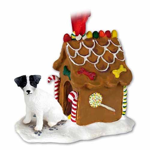 Jack Russell Terrier Gingerbread House Christmas Ornament Black-White