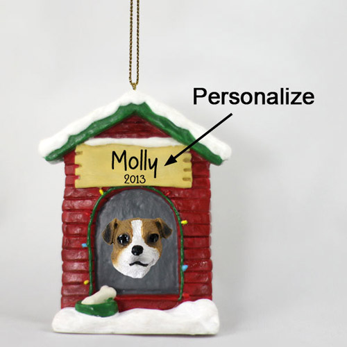 Jack Russell Terrier Personalized Dog House Christmas Ornament