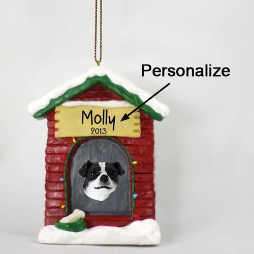 Jack Russell Terrier Personalized Dog House Christmas Ornament Black-White Smooth