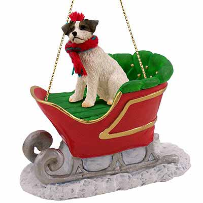 Jack Russell Terrier Sleigh Ride Christmas Ornament Brown-White
