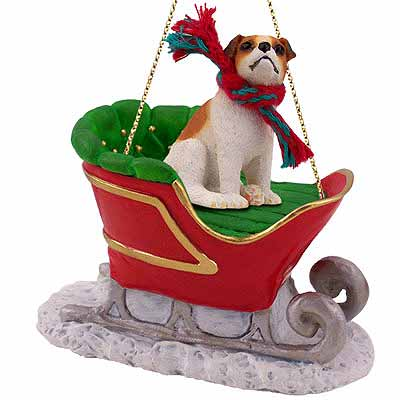 Jack Russell Terrier Sleigh Ride Christmas Ornament Brown-White Smooth Coat