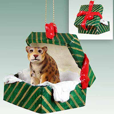 Jaguar Gift Box Christmas Ornament
