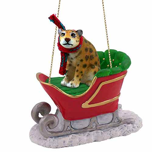 Jaguar Sleigh Ride Christmas Ornament