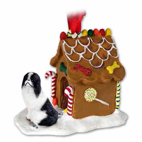 Japanese Chin Gingerbread House Christmas Ornament Black-White
