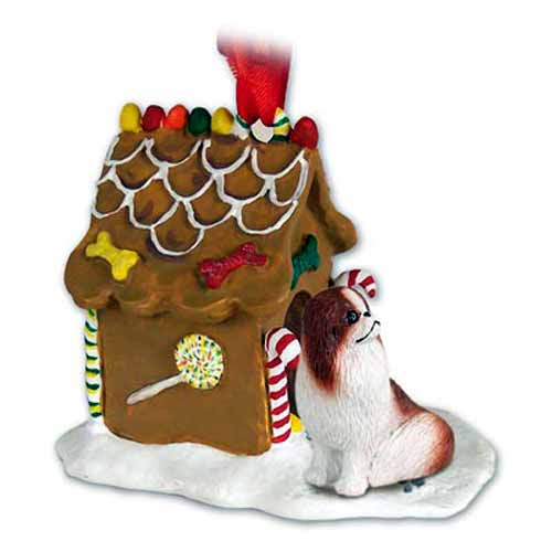 Japanese Chin Gingerbread House Christmas Ornament Red-White