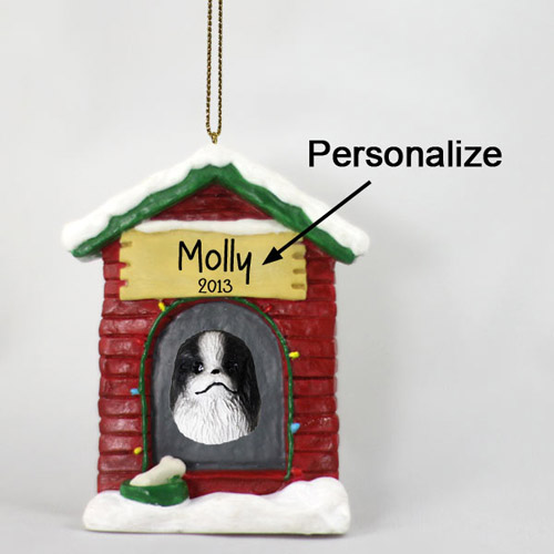 Japanese Chin Personalized Dog House Christmas Ornament