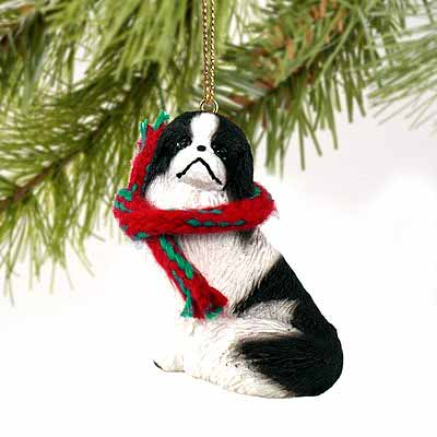 Japanese Chin Tiny One Christmas Ornament Black-White