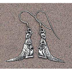 Kangaroo Earrings Sterling Silver