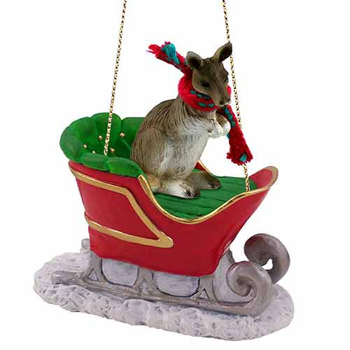 Kangaroo Sleigh Ride Christmas Ornament