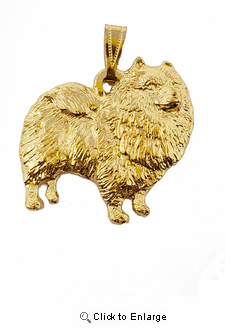 Keeshond 24K Gold Plated Pendant