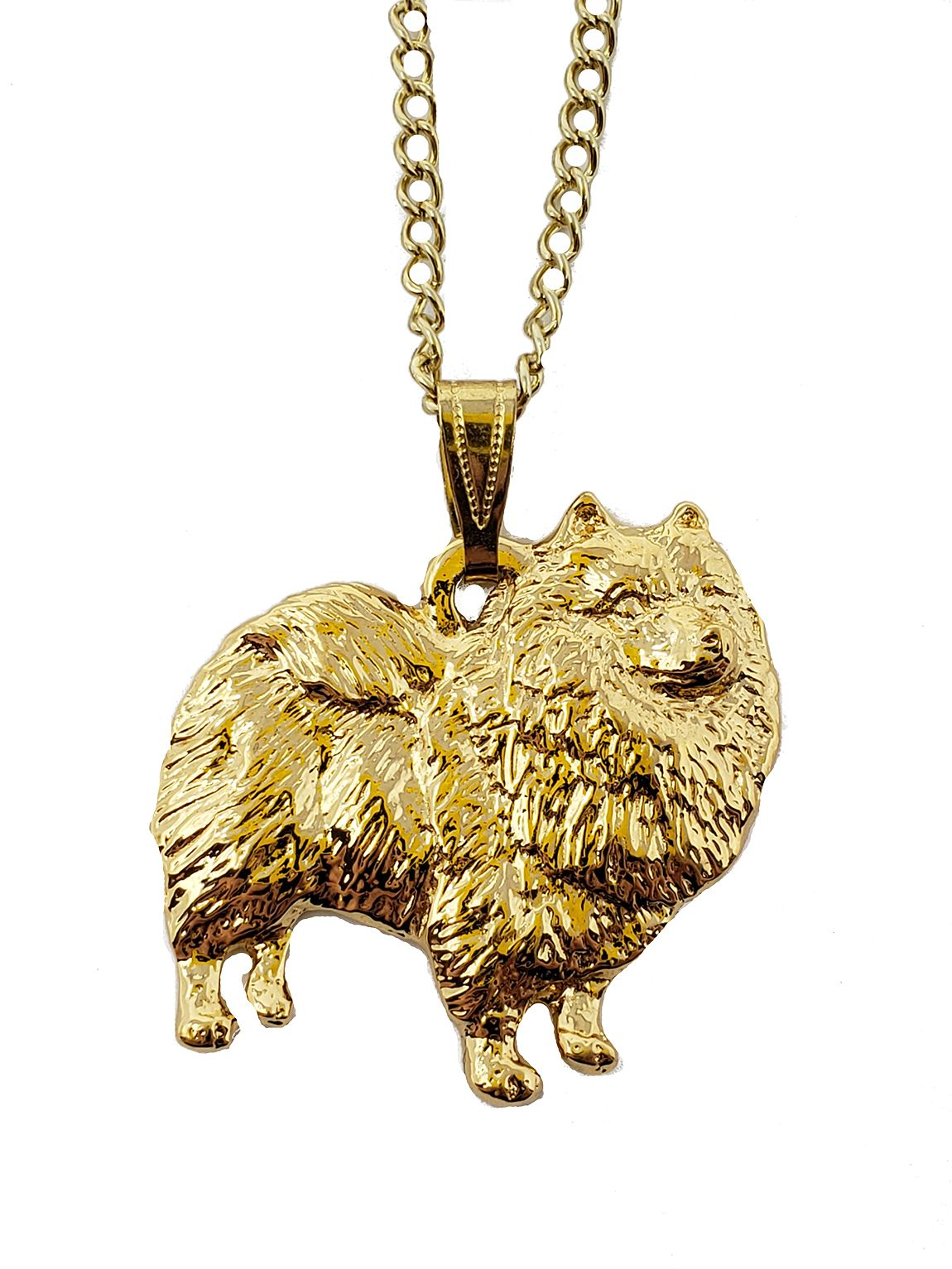 Keeshond 24K Gold Plated Pendant with Necklace