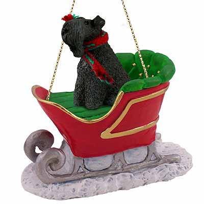 Kerry Blue Terrier Sleigh Ride Christmas Ornament