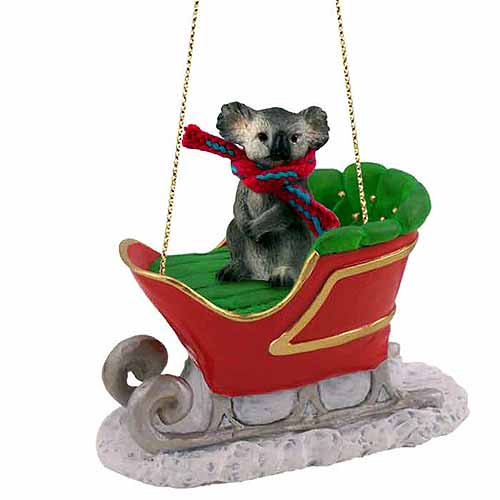 Koala Sleigh Ride Christmas Ornament