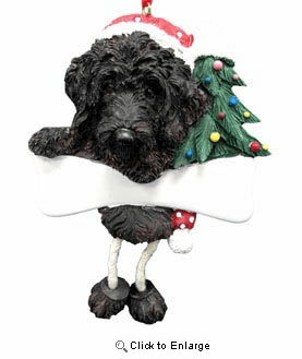 Labradoodle Christmas Tree Ornament - Personalize (Black)