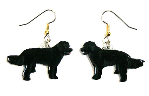 Labradoodle Earrings Black Hand Painted Acrylic