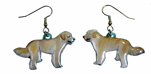 Labradoodle Earrings Blonde Hand Painted Acrylic