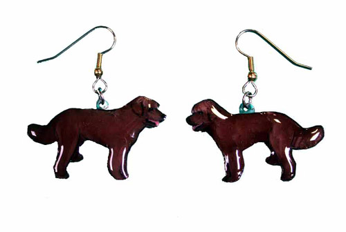 Labradoodle Earrings Chocolate Hand Painted Acrylic