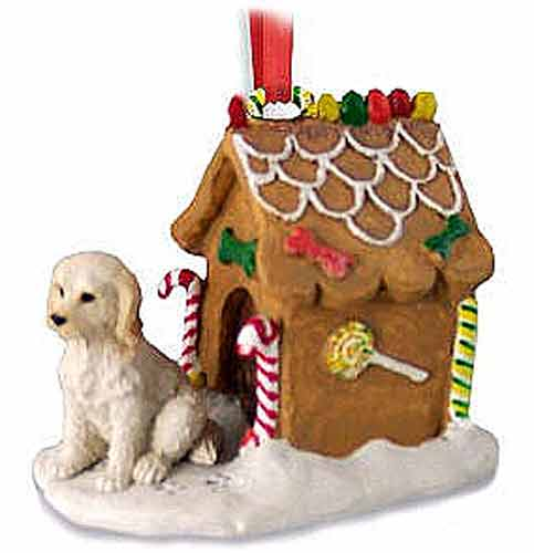 Labradoodle Gingerbread House Christmas Ornament Cream-Blonde