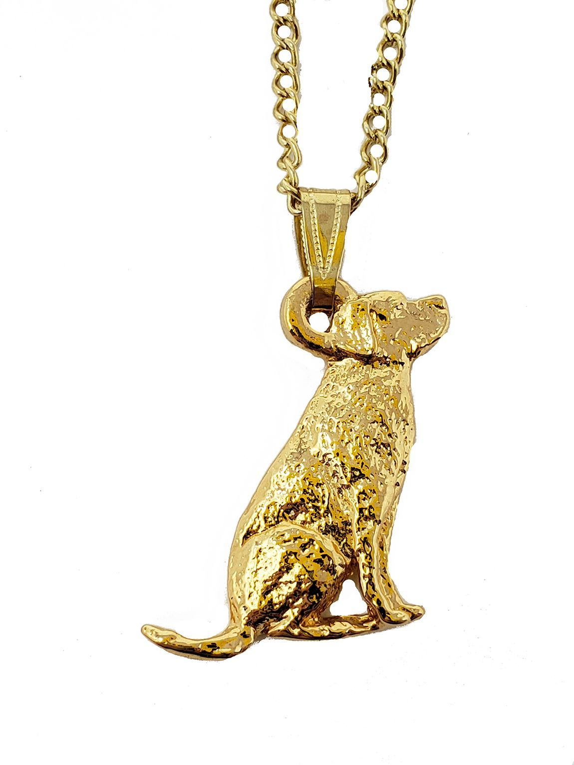 Labrador Retriever 24K Gold Plated Pendant with Necklace Sitting