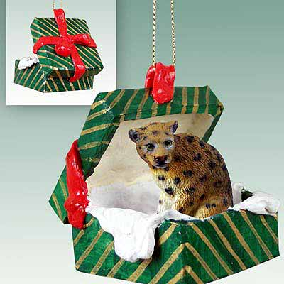 Leopard Gift Box Christmas Ornament