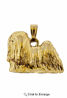 Lhasa Apso 24K Gold Plated Pendant