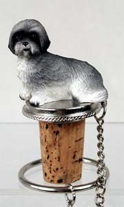 Lhasa Apso Bottle Stopper (Gray Sport Cut)