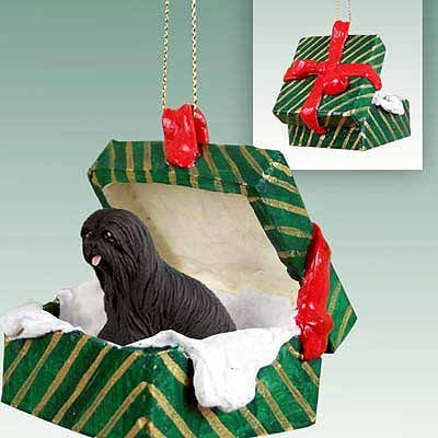 Lhasa Apso Gift Box Christmas Ornament Black