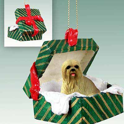 Lhasa Apso Gift Box Christmas Ornament Blonde