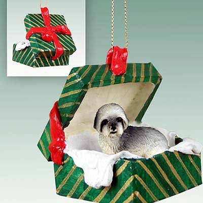 Lhasa Apso Gift Box Christmas Ornament Gray Sport Cut
