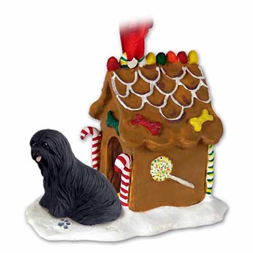 Lhasa Apso Gingerbread House Christmas Ornament Black