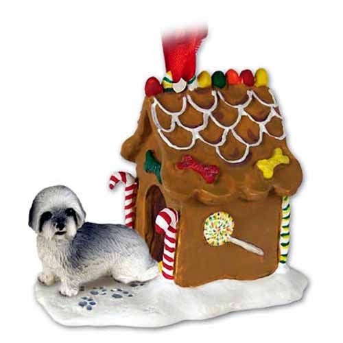 Lhasa Apso Gingerbread House Christmas Ornament Gray Sport Cut