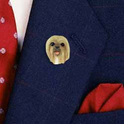 Lhasa Apso Pin Hand Painted Resin