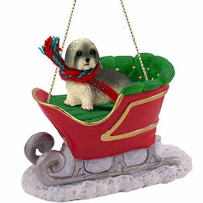 Lhasa Apso Sleigh Ride Christmas Ornament Gray Sport Cut