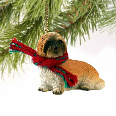 Lhasa Apso Tiny One Christmas Ornament Brown Sport Cut