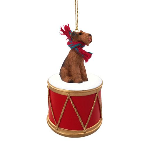 Little Drummer Airedale Terrier Christmas Ornament