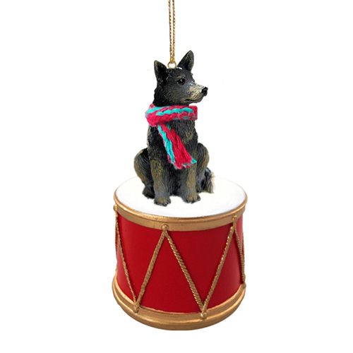 Little Drummer Australian Cattle Dog Blue Christmas Ornament