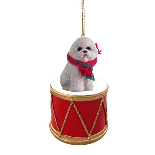 Little Drummer Bichon Frise Christmas Ornament