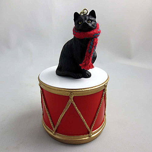 Little Drummer Black Cat Christmas Ornament