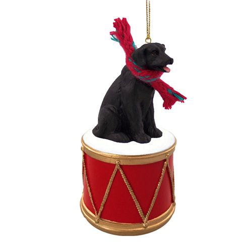 Little Drummer Black Labrador Christmas Ornament