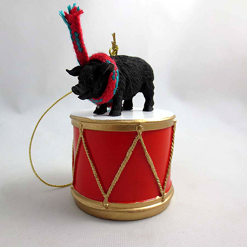 Little Drummer Black Pig Christmas Ornament