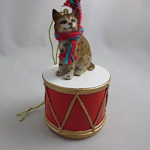 Little Drummer Bobcat Christmas Ornament